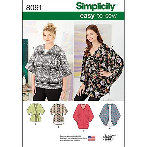 Simplicity Creative Patterns Simplicity Patterns Misses Kimonos in Various Styles Size: A (XXS-XS-S-M-L-XL-XXL), 8091 (Various Patterns)