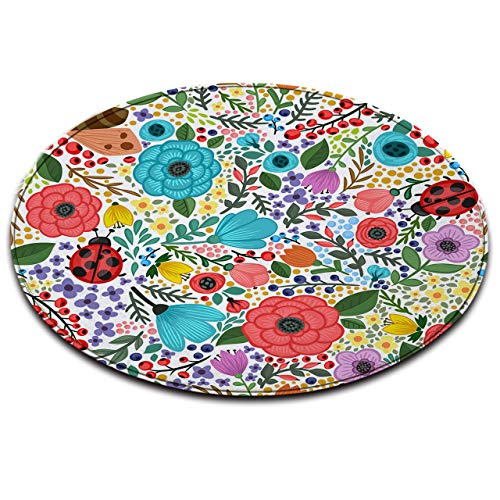 LB Tropical Floral Mat,Colorful Leaves Flowers Print Round Memory Foam Rug for Bedroom Living Dining Room Non-Slip Soft Touch Flannel Indoor Outdoor Carpet,4' Diameter
