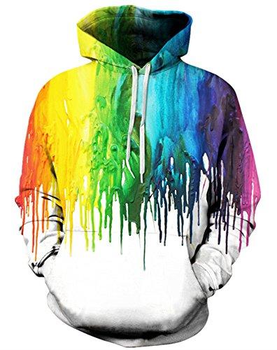 GLUDEAR Unisex 3D Print Sweatshirt Casual Pullover Hoodie with Pocket,Rainbow,11-12Y ()