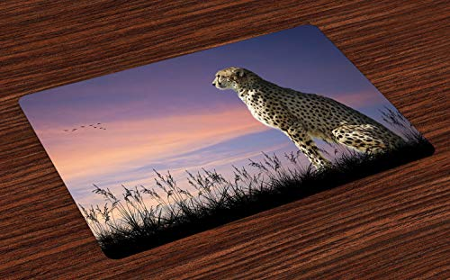 Lunarable Cheetah Place Mats Set of 4, African Safari Concept Image of Cheetah Looking Out Over Savannah with Sunset Sky, Washable Fabric Placemats for Dining Room Kitchen Table Decor, Multicolor