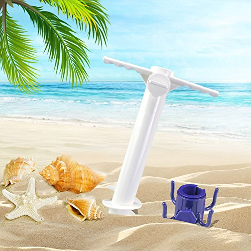 Homga Beach Umbrella Sand Anchor, Heavy Duty Umbrella Holder-Stands, Comes with Beach Umbrella Hanging Hook, One Size Fits All for Strong Winds by Homga