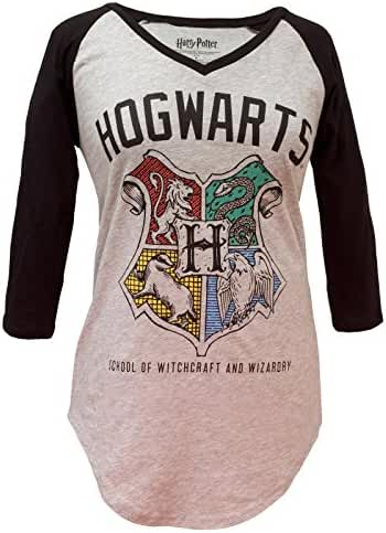 Harry Potter Hogwarts Crest V-Neck Juniors Raglan