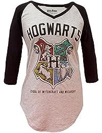 Hogwarts Crest V-Neck Juniors Raglan