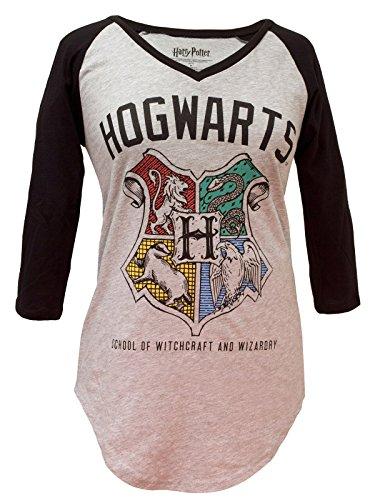 (Harry Potter Hogwarts Crest V-Neck Raglan)
