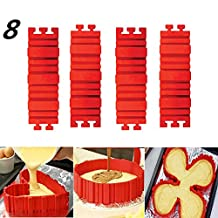 8 Silicone Baking Mold Snake Set Bake Mold Any Shape Baking Mold Snake Silicone Baking Mold Cupcake Tools(red)