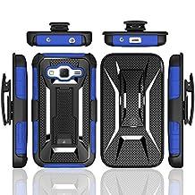G360 Case,Galaxy Core Prime Case,Lantier [Heavy Duty Robot] [Military Defender] Black Armor Premium Belt Clip Holster Kickstand Bumper for Samsung Galaxy Core Prime G360/Prevail LTE Blue