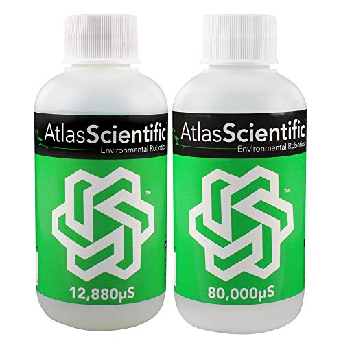 Calibration Conductivity Solution - Atlas Scientific K 1.0 Conductivity Calibration Solutions - 12,880µS & 80,000µS - 125ml (4oz) Pack of 2