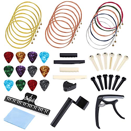 Auihiay 51 PCS Acoustic Guitar Strings Kit Include Guitar Strings, Guitar Capo, Music Book Clip, Guitar Picks, String Winder, Bridge Pins, Cleaning Cloth