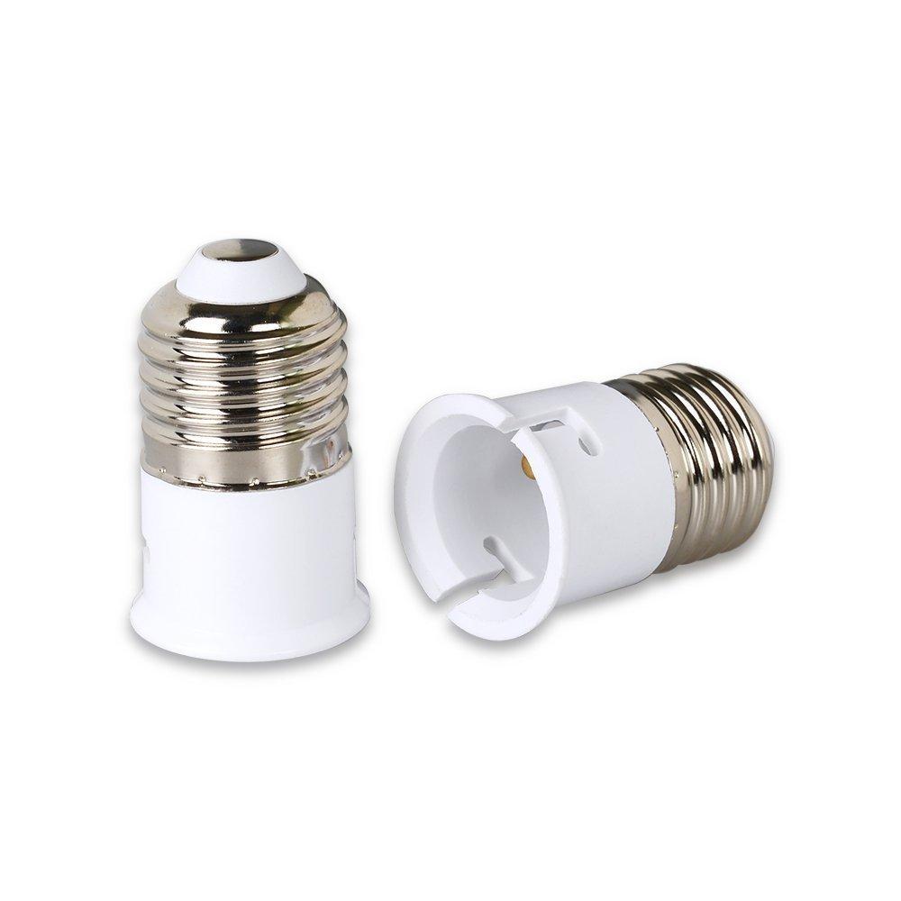 E27vers B22Lumière LED Socket convertisseur Raccord à économie d'énergie Extender adaptateur de douille de lampe d'éclairage 220–240V Ampoule de base support à vis pour LED Blanc chaud 2&nbs