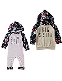 puseky Big Little Sister Baby Girls Matching Outfit Floral Hoodie Sweatshirt Top Romper Jumpsuit