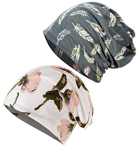 JarseHera Chemo Caps for Women Slouchy Beanie Casual Headcovers Headwear for Cancer Patients (2 Pair,Gray Feather+Floret-White, One Size Fit Most)