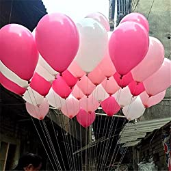 100PCS Latex balloon 12 Inch Thick Round Balloon (white& rose red& pink) Wedding Party Birthday Ballon