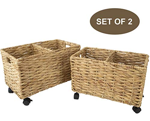 Made Terra Set 2 of Seagrass and Water Hyacinth Storage Baskets on Wheels | Straw Wire Woven Wicker Baskets for Kitchen, Pantry, Home Organization and Decor (Water Hyacinth (Twisted Weaving)) (Basket Straw Woven)