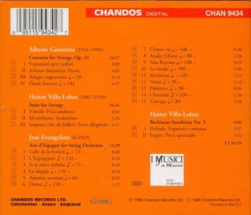 Ginastera: Concerto for Strings / Villa-Lobos: Suite for Strings / Bachianas Brasileiras No. 9 / Evangelista: Airs d'Espagne by Chandos