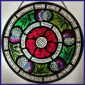 Decorative Hand Painted Stained Glass Window Sun Catcher Roundel in a Celtic Cross Design.