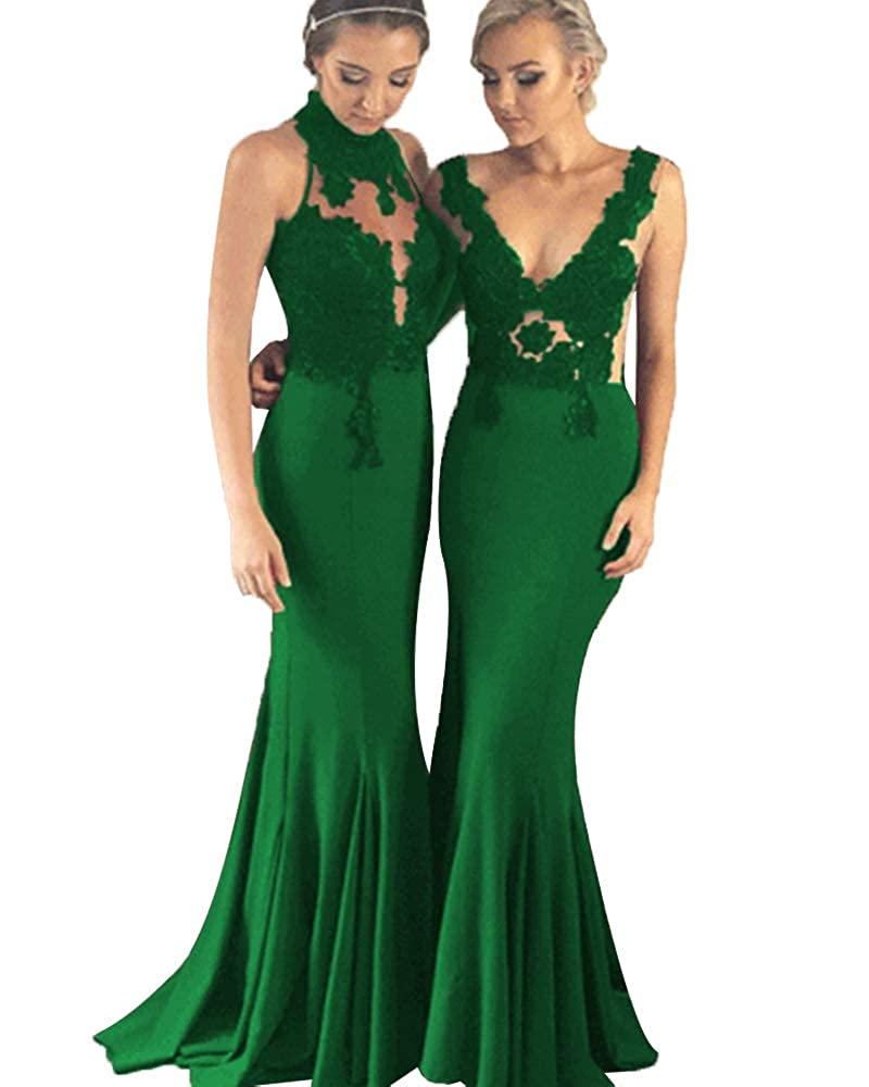 Dark Greena SDRESS Women's Lace Applique Mermaid Bridesmaid Dress Illusion Evening Gowns Long Prom Dress