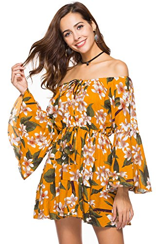 Womens Dresses ,Vintage Women Long Sleeve Floral Printed Summer Boho Short Dress (Leaf Summer)