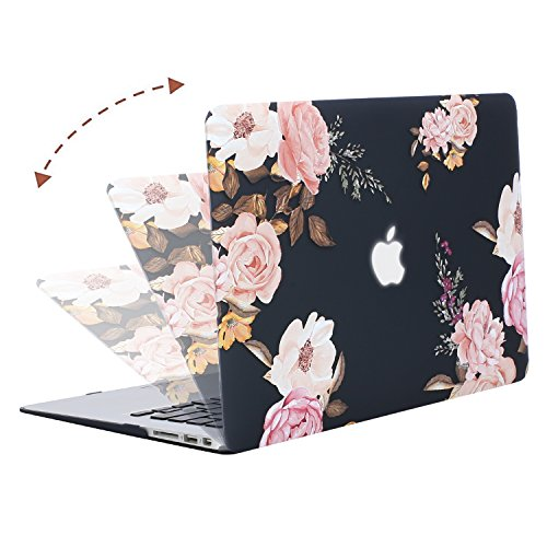 MOSISO Plastic Pattern Flower Hard Case Shell with Keyboard Cover with Screen Protector Compatible MacBook Air 13 Inch (Model: A1369 and A1466), Peony on Transparent Black Base by MOSISO (Image #4)