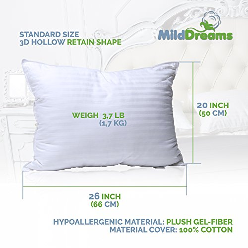 Pillows For Sleeping 2 Pack Standard Size 20x26 Inch Set