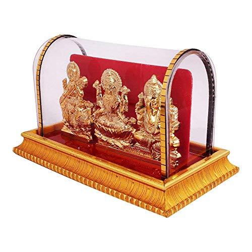 International Gift Gold Plated Lord Ganesh & Maa Lakshmi & Sarswati Acrylic Idol/Hindu God Ganpathi & Goddess Laxmi Pooja Mandir/Car Dashboard/Office Tabel