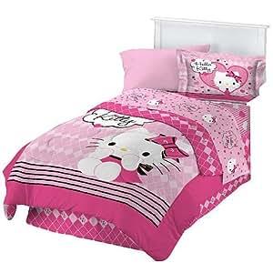 "Hello Kitty ""Sweet and Sassy"" Twin Comforter Set"