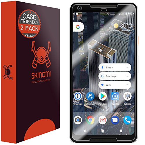 Price comparison product image Google Pixel 2 XL Screen Protector (Case Friendly)[2-Pack], Skinomi TechSkin Full Coverage Screen Protector for Google Pixel 2 XL 2017 Clear HD Easy Install Anti-Bubble Film
