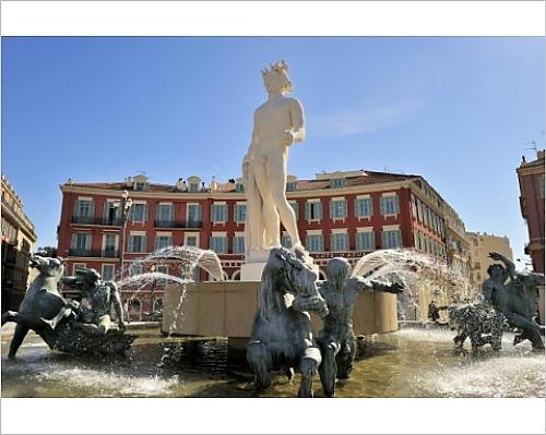 10x8 Print of The Fontaine du Soleil (Fountain of the Sun), Place Massena, Nice, Alpes (Massena Water)