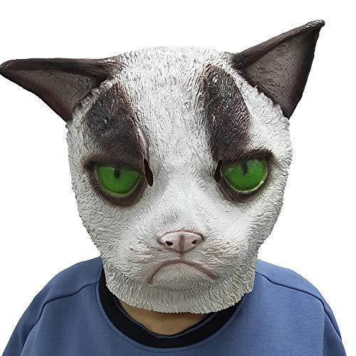 Lepy Grumpy Cat Mask, Novelty Halloween Costume Latex Animal mask Adult Size (White)]()