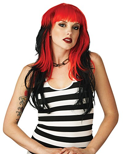 Black Red Gothic Wig Punk Rocker Goth Theatre Costumes (Punk Rockers Costume Ideas)