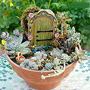Muamax Fairy Garden Door Accessories Fairy Doors Wall Indooroutdoor Mystical Door For Tree Trunk Green