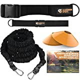 Scandinavian Sports Bungee Resistance Speed Band Set – 360° Rotation, 80 lbs Resistance Strength Bungee Cord 22ft Length, Sport Cones and Bonus Exercise Folder – Acceleration & Speed Training Tool