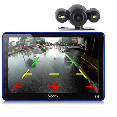 Xgody 886BT Car GPS Navigation with 6M Backup Camera Sunshade 7'' 256MB/ 8GB Capacitive Touch Screen SAT NAVI Spoken Turn-By-Turn Directions Lifetime Map Updates Speed Limit Displays by XGODY