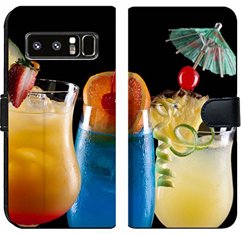 Liili Premium Samsung Galaxy Note8 Flip Micro Fabric Wallet Case Tequila Sunrise Blue Lagoon and Bahama Mama cocktails over black Photo 14535832 (Tequila Premium Ultra)
