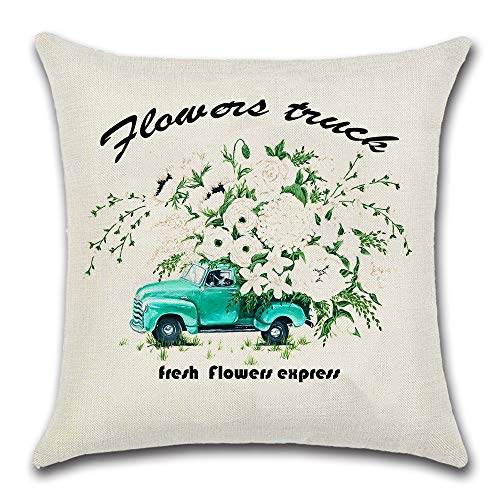 JOJUSIS Summer Throw Pillow Cover Green Flower Truck Cotton Linen Home Decor Decorative Cushion Cases 18 x 18 inch