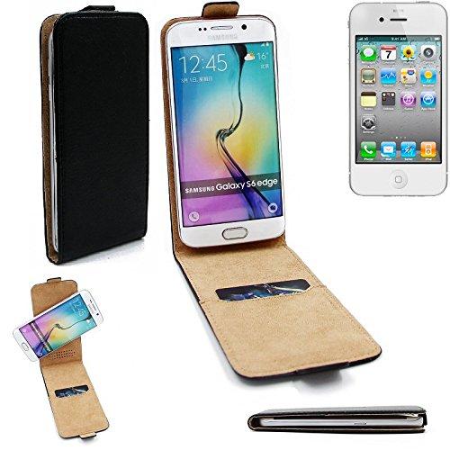 360° Flipstyle Schutzhülle Smartphone Tasche für Apple iPhone 4, schwarz, Case Hülle Flip cover - K-S-Trade