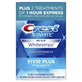 Beauty : Crest 3D White Whitestrips Vivid Plus 12 Treatments – 10 Treatments Vivid Whitestrips + 2 Treatments 1 Hour Express Dental Teeth Whitening Kit