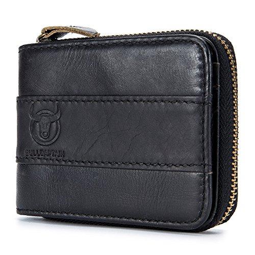 (SHAKARAKA Mens Wallet RFID Blocking Minimalist Vintage Genuine Cowhide Leather Wallet for Men)