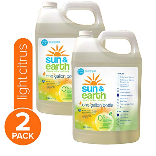 Sun & Earth 2X Concentrated Natural Laundry Detergent, Light Citrus, 128 Fluid Ounce (Pack of 2)