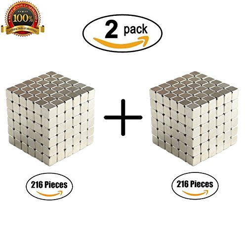 CRFX Magnetic Cube Puzzle Magnetic Holders Multi-Use Prime Fidget Toys for Adults Office Stress Relief Executive Desk Toy Magic Cool Gadget - (2x216 Pieces)(3mm) ()