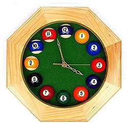 Sangu Urip Very Rare Item Octagonal Natural Furnished Wooden Billiards Quartz Clock with Half Billiard Balls as Numbers