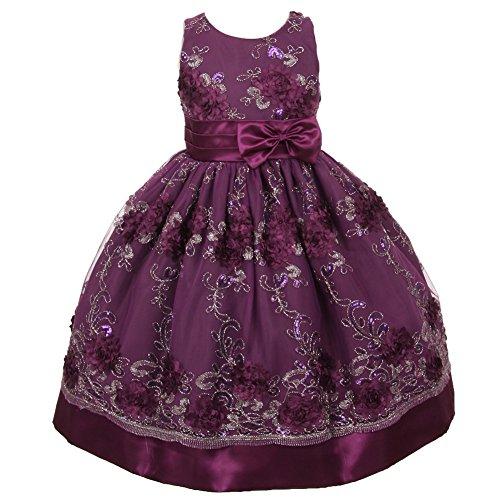 Little Girls Violet Organza Embroidery Bow Sash Flower Gi...