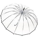 Kung Fu Smith Womens Summer Clear Transparent Bubble Dome Stick Rain Umbrella