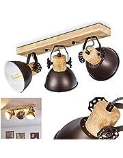 Lampa sufitowa Orny, lampa sufitowa z metalu/drewna w kolorze antracytowym/białym/brązowym, 3-żarówkowa, z regulowanymi reflektorami, 3 x oprawka E27 maks. 60 W, spot w stylu retro/vintage, odpowiednia do żarówek LED