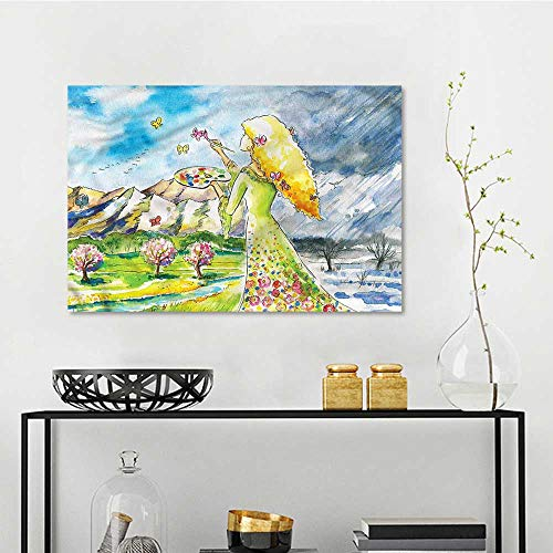 one1love Butterfly Abstract Oil Paintings Blonde Lady Watercolor