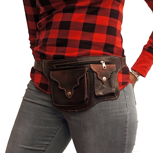 Leather Hip Bag, Bum Bag, Belt Bag- The Fashionable Fanny Pack by The Urban Turbanista- BROWN BUMBAG