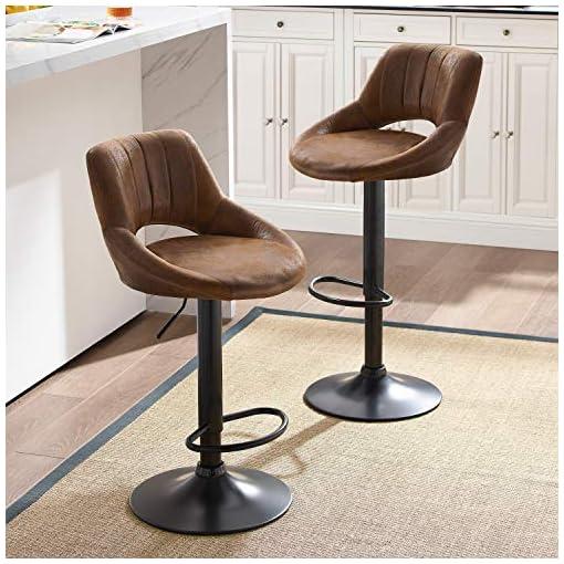 Kitchen Art-Leon Modern Retro PU Leather Adjustable 360 Swivel BarStools Chair Set of 2 with Open Backrest Black Powder Coated… modern barstools