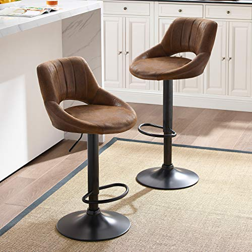 Art Leon Modern Retro PU Leather Adjustable 360 Swivel BarStools Set of 2 with Open Backrest Black Powder Coated Gas Lift and Footrest (Brown)