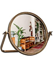 Geloo Table Desk Round Mirror-Vintage Table Top Vanity Circle Mirror 360 Degree Swivel,Gold Metal Framed Small Standing Mirror for Bedroom,Tabletop,Bathroom,Antique,Dresser