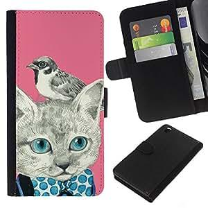Planetar® Modelo colorido cuero carpeta tirón caso cubierta piel Holster Funda protección Para HTC DESIRE 816 ( Kitty Kitten Bird Pink Bowtie )