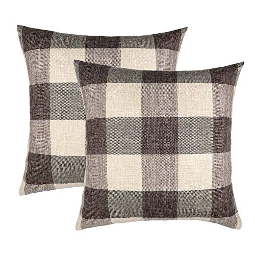 4TH Emotion 16x16 Brown Grey Buffalo Check Plaids Throw Pillow Case Cushion Cover Holiday Decor Cotton Linen for Sofa Set of 2